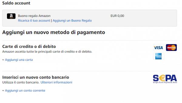 inserire metodo pagamento amazon