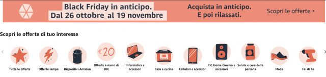 categorie amazon black friday in anticipo