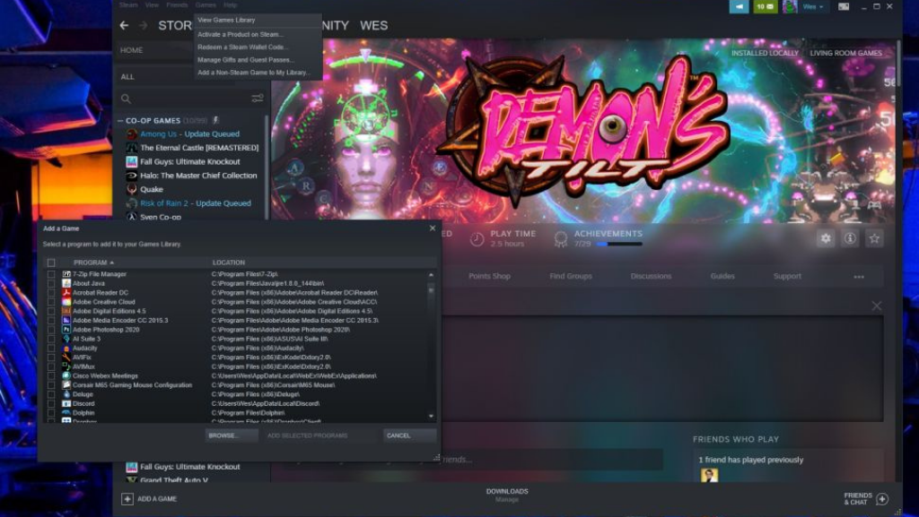 aggiungere giochi non steam