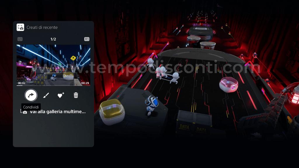 Galleria multimediale PS5 con i contenuti recenti