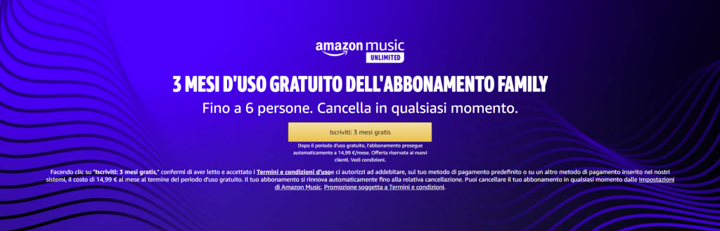 prova gratis music unlimited family