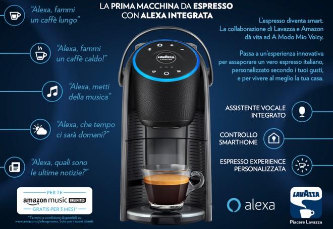 comandi alexa macchina del caffe lavazza